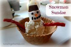 Winter party foods, snowman activity, party idea