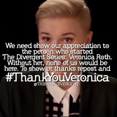 Yeah thanks Veronica for putting us though mental depression and ruining our lives by killing someone so deserving of a happy ending. Not to mettion how attched you made us to her first. So yeah thanks a lot.