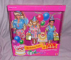 BARBIE - BIRTHDAY FUN AT McDONALD'S - NEW IN BOX - 1993  BARBIE/STACIE & TODD  | eBay Barbie Birthday, Birthday Fun, Mcdonald's Restaurant, Mcdonalds, Box, Snare Drum