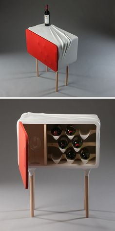 This wine cabinet appears to have wrinkles on its hard surface