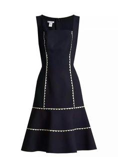 0 CLOSE SHOP THE LOOK OSCAR DE LA RENTA Ric-rac trimmed wool-blend crepe dress
