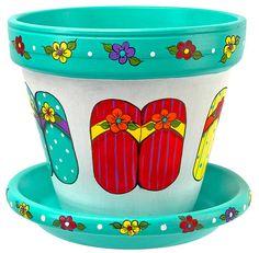 DecoArt - Project Tutorial and Inspiration Flip-Flop Flower Pot project from DecoArt Flower Pot Art, Flower Pot Design, Clay Flower Pots, Terracotta Flower Pots, Flower Pot Crafts, Flower Pot People, Clay Pot People, Painted Clay Pots, Painted Flower Pots