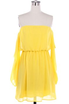 Wisteria Lane Off the Shoulder Dress - Yellow $45.00