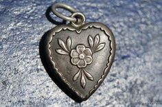 Antique Victorian Sterling Silver Repousse Puffy heart charm