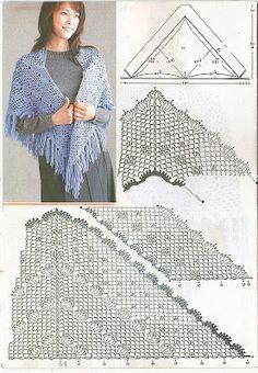 Crochet Prayer Shawls, Knitted Shawls, Crochet Scarves, Crochet Clothes, Crochet Shoes Pattern, Crochet Stitches Patterns, Crochet Chart, Knit Crochet, Crochet Ideas