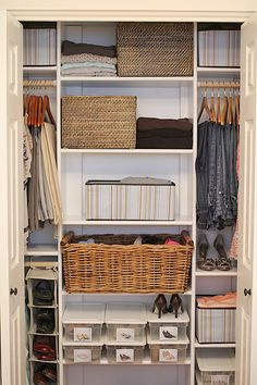 Love the orginization of this closet and the idea of only so many hangers, shoe boxes and keep a goodwill bag in the closet