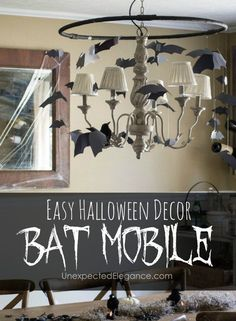 """Looking for some easy Halloween decorations that are quick to put together? Check out this simple and inexpensive """"bat mobile"""". It will give any room a creep-factor!"""