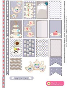 English Tea themed Stickers for Happy Planner and ECLP {Free Printable} Tea Stickers in Pink Color pinned by ∙⋞ ✦ Karen of CraftedColour ✦ ⋟∙ To Do Planner, Free Planner, Planner Pages, Happy Planner, Planner Ideas, Pink Planner, Printable Planner Stickers, Journal Stickers, Free Printables