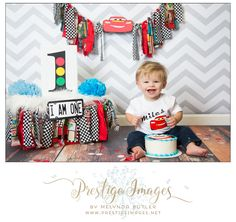LIGHTENING MCQUEEN CARS FIRST BIRTHDAY SMASH CAKE SESSION