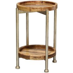 The richly colored top and lowers helf of this sleek side table is made from inlaid natural banana bark fiber. The legs are powder coated iron. Banana fiber is natural and will vary in color.