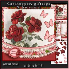 Cardtopper red roses and butterflies 675 on Craftsuprint - View Now!