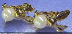 Avon - 1994 Pearly Bunny clip earrings with original box   - MAKE $ OFFER DreamLandSpecialties@comcast.net