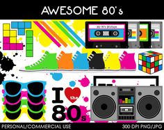Awesome 80's Clipart - Digital Clip Art Graphics for Personal or Commercial Use on Etsy, $5.00