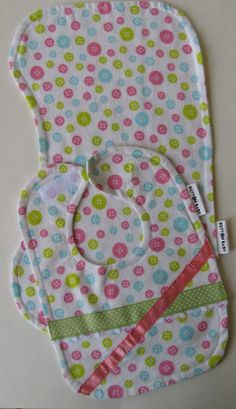 Cute as a button! Baby bib and burp cloth gift set! Too cute! Only $13! Perfect baby shower gift! #ButtonBaby