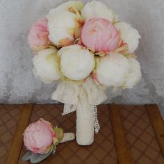 Ivory and Blush Pink Peony Wedding Bouquet -Peony Bridal Bouquet Groom's Boutonniere Ivory Lace Ribbon- Customized to Your Wedding Colors