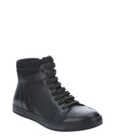 """Kenneth Cole New York black leather """"Big Brand"""" high top side zip sneakers 