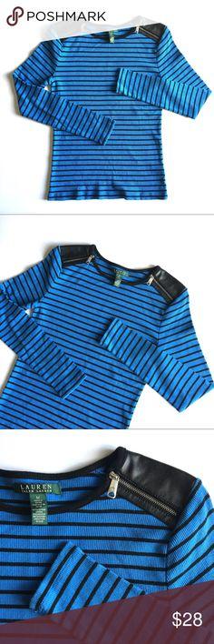 ❤️ Ralph Lauren Striped Tee Faux Leather Zip New listing! Info coming soon. Ralph Lauren Tops Blouses
