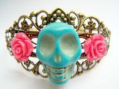 Day of the Dead Bracelet, Dia de Los Muertos Skull Cuff Bracelet, Turquoise Skull with Coral Pink Flowers, Antiqued Brass Filigree - Daya via Etsy