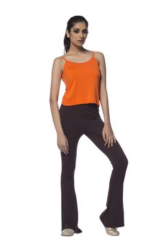 De Moza Flare Leg Knit Pant with strap crop to made from Vortex Viscose with Stretch
