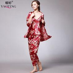 af3719bce8 SpaRogerss 3 Pcs Robe Pajama Pants Sets 2017 New Fashion Ladies Sleep  Lounge Dragon Print Night Shirt Female Pajama Sets TZ013