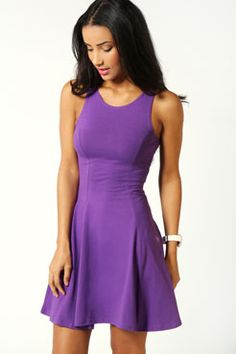 $24 Hopefully this comes in before the SMU/ TCU game Sara Seam Detail Skater Dress