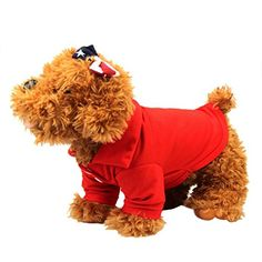 Outtop Pet Clothes Small Dogs Warm POLO Coat Shirt Apparel Costume Accessory for Dog Dachshund Poodle Pug Chihuahua Shih Tzu Yorkshire Terriers Papillon M Red *** Click image for more details.