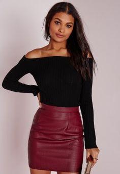 Bardot Ribbed Top Black ~ that BURGANDY skirt though!!!