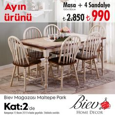 #MaltepePark Biev mağazasında ayın ürünü masa + sandalye 990 TL,bu fırsat kaçmaz. ;)