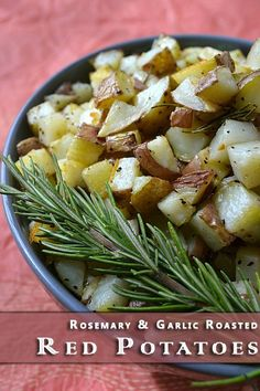 A delicious side dish recipe for Rosemary and Garlic Roasted Red Potatoes! | The Happy Housewife