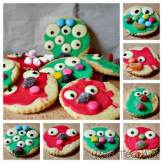 halloween cookies - super easy monster cookies to make with kids. Love how involved the kids can get and really have fun. Make our favourite egg free sugar cookie or use store bought cookies. Either way, the kids will love them! Halloween Activities For Toddlers, Halloween Crafts For Toddlers, Easy Crafts For Kids, Halloween Kids, Halloween Kitchen, Halloween Halloween, Kid Crafts, Moster Cookies, Easy Baking For Kids