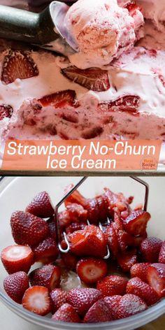 Homemade Strawberry Ice Cream, Easy Homemade Ice Cream, Easy Ice Cream Recipe, Keto Ice Cream, Ice Cream Party, Ice Cream Recipes, Easy Strawberry Recipes, Ice Cream Desserts, Frozen Desserts