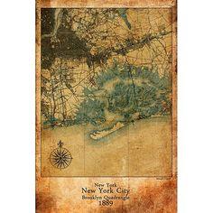 Maxwell Dickson 'Antique Map of New York City 1889' Wall Art