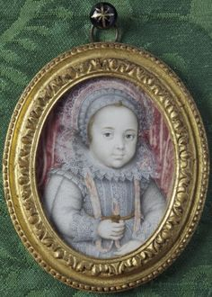 Miniature portrait of an unknown child by Isaac Oliver (1556?-1617) at Ham House, Surrey.