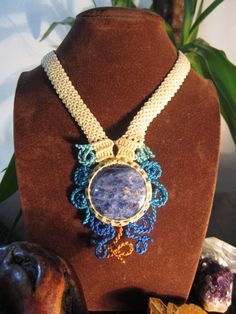 Handmade Sodalite Macrame Necklace Creation, via Etsy.