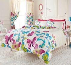 Elegant Purple Blue Butterfly Girls Bedding Full Queen Duvet Cover - Comforter Cover Set