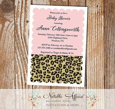 Leopard Print Scalloped Invitation - Light Pink background can be changed - Girl Leopard Baby Shower invitation - choose your own wording by NotableAffairs