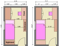 bedroom with desk layouts