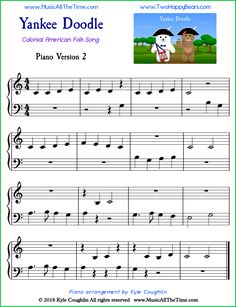 Yankee Doodle easy sheet music for piano, using both hands to play the melody. Piano Songs For Beginners, Beginner Piano Music, Easy Sheet Music, Violin Sheet Music, Piano Lessons, Music Lessons, Noten Pdf, Gitarrenakkorde Songs, American Folk Songs