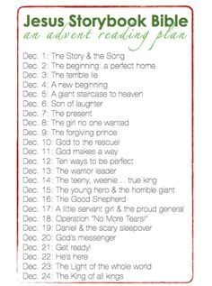 Advent reading plan for Jesus Storybook Bible