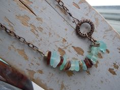 Seafoam and Brown Beach Glass with stone and Brass findings...