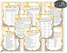 Super baby shower ideas for girs giraffe products 64 ideas Baby Shower Drinks, Baby Shower Bingo, Baby Shower Printables, Baby Boy Shower, Nursery Rhymes Games, Alphabet, Baby Shower Giraffe, Yellow Theme, The Calling