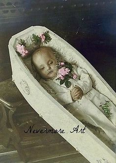 Baby Casket Post Mortem Death Cabinet Card Reprint Little Child  Photograph Art