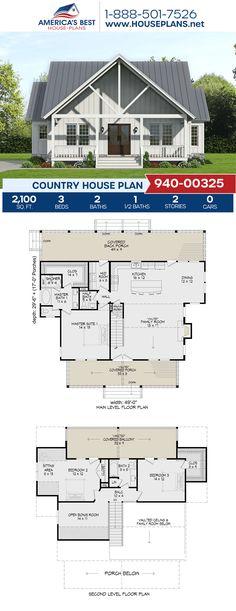 If you love the Country style, check out Plan 940-00325, complete with 2,100 sq. ft., 3 bedrooms, 2.5 bathrooms, a kitchen island, an open floor plan, a bonus room, a mudroom, and a sitting room. #country #architecture #houseplans #housedesign #homedesign #homedesigns #architecturalplans #newconstruction #floorplans #dreamhome #dreamhouseplans #abhouseplans #besthouseplans #newhome #newhouse #homesweethome #buildingahome #buildahome #residentialplans #residentialhome