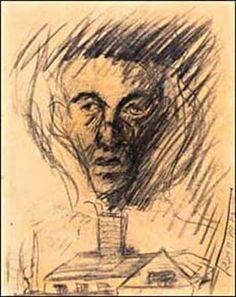 Yehuda Bacon. Con 16 Años, al salir de Terezín, dibujó este retrato de su padre recientemente gaseado y cremado en Auschwitz. La cara de su progenitor emerge, demacrada, sobre una cortina de humo.