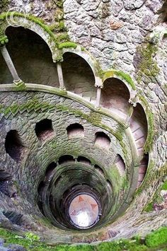 The Initiation Well, in Sintra, Portugal  -  A journey of rebirth and self discovery is the concept behind the Initiation or Initiatic Well at Quinta da Regaleira