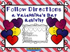 V-day Following Directions for Primary from Notveryfancy on TeachersNotebook.com -  (4 pages)  - This activity is a fun way for students to practice following directions and ordinal words. FREE
