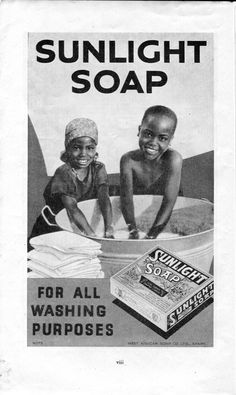 From Nigeria quarterly magazine, No 23, 1946. Colonies provide not only resources and cheap labour, they also provide markets. Products advertised here include Ovaltine, malaria medicine, laboratory supplies, film, Ford cars, house paints, metal windows, tools, toothpaste, insurance, Bovril, English books, subscriptions, tropical outfitters, writing pads, GMC cars and trucks, cinemas, pens, paint boxes and shipping. Sunlight soap is still sold in Nigeria today. Learyworks.com collection.