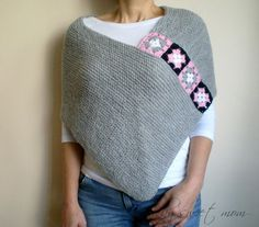 Light Gray Poncho Shawl Capelet with Afghan Motifs Winter Fall Autumn Accessories via Etsy