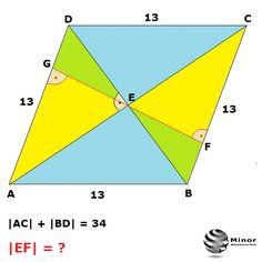 Bok rombu ABCD ma długość 13 a suma długości jego przekątnych AC i BD wynosi 34. Przekątne rombu przecinają się w punkcie E. Wyznacz długość wysokości EF trójkąta BCE poprowadzonej z wierzchołka kąta prostego CEB.