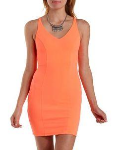 8/2/15  Brand/Designer: Charlotte Russe Material: Scuba Knit Dress Silhouette: Bodycon Shoulder: Spaghetti Strap Neckline: Plunging Neck V-Neck Train: Brush/Sweep Closure/Back: Criss Cross